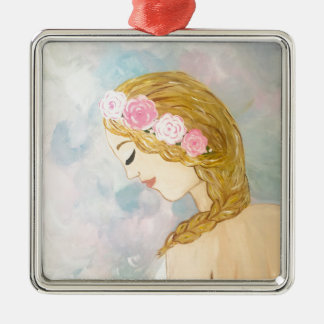 Frau mit Blumen in ihrem Haar Silbernes Ornament