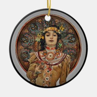 Frau mit Champagne-Glas Keramik Ornament