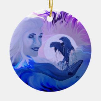 Frau mit Delfine im Mondschein Keramik Ornament