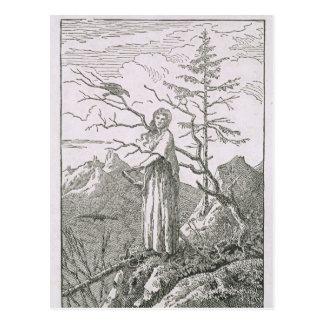 Frau mit einem Raben, am Rand eines Abgrundes Postkarte