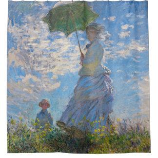 Frau mit einem Sonnenschirm durch Claude Monet Duschvorhang