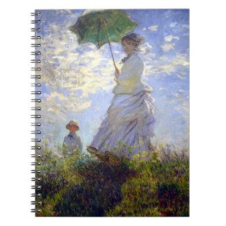 Frau mit einem Sonnenschirm durch Claude Monet Notizblock