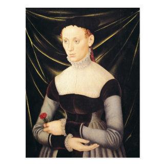 Frau mit einer Gartennelke Postkarte