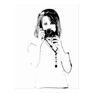 Frau mit einer Kamera Postkarte