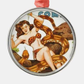 Frau mit einer Schlange Rundes Silberfarbenes Ornament