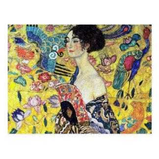 Frau mit Fan durch Gustav Klimt Postkarte