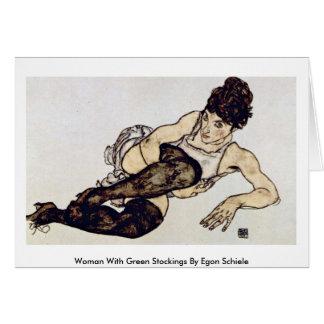 Frau mit grünen Strümpfen durch Egon Schiele Karte