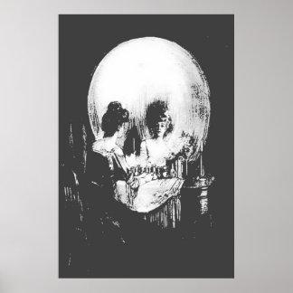 Frau mit Halloween-Schädel-Reflexion im Spiegel Poster