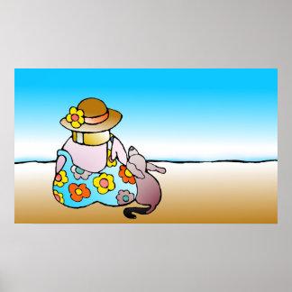 Frau mit Hund durch das Meer - Frau-MIT Hund Poster