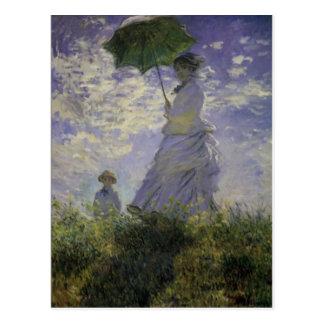 Frau mit Karte Sonnenschirm-Claude Monet-Mutter Postkarten