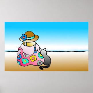Frau mit Katze durch das Meer - Frau-MIT Katze Poster