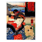 Frau mit Katze - japanische Kunst - Utagawa Postkarte