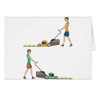 Frau mit Rasenmäher Karte