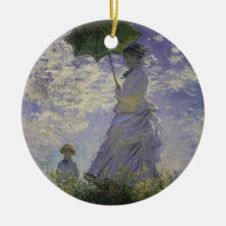 Frau mit Sonnenschirm durch Claude Monet, Vintage Keramik Ornament