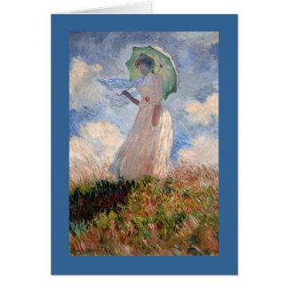 Frau mit Sonnenschirm Karte