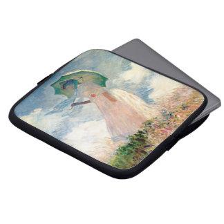 Frau mit Sonnenschirm-Promenade Monet Laptopschutzhülle