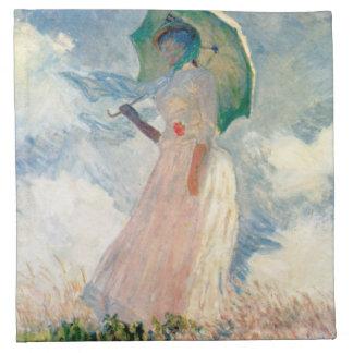 Frau mit Sonnenschirm-Promenade Monet Serviette