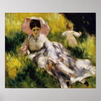Frau mit Sonnenschirm Renoir schöner Kunst Poster