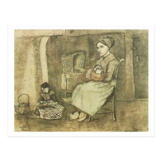 Frau mit Van- Goghschöner Kunst des Baby-(F1070) Postkarte