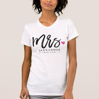 Frau (Name) Est. Ihr Wedding Jahr T-Shirt