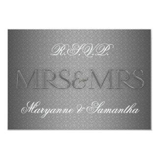 Frau u. Frau Gay Lesbian Wedding RSVP im Silber 8,9 X 12,7 Cm Einladungskarte