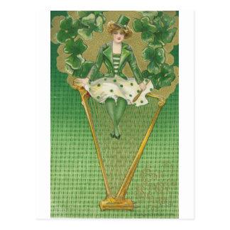 Frau und Harfe Postkarte