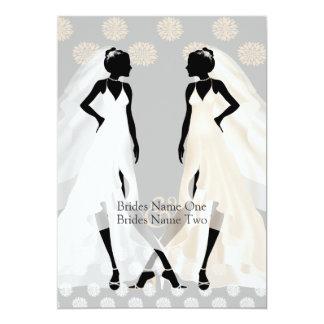 Frau-und Hochzeits-Kleid und Blume Frau-Elegant 12,7 X 17,8 Cm Einladungskarte