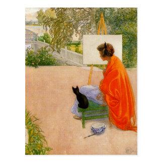 Frau und Katze, die Brücke betrachten Postkarte
