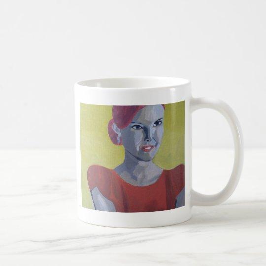 Frau Vintage gelber Hintergrund Kaffeetasse
