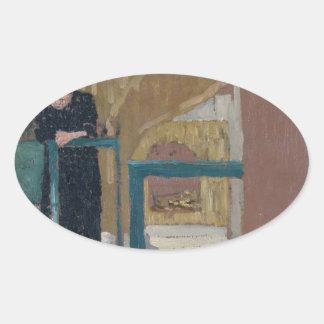 Frau Vuillard im Studio eines Set-Designers Ovaler Aufkleber