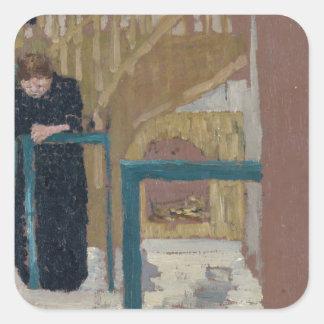 Frau Vuillard im Studio eines Set-Designers Quadratischer Aufkleber