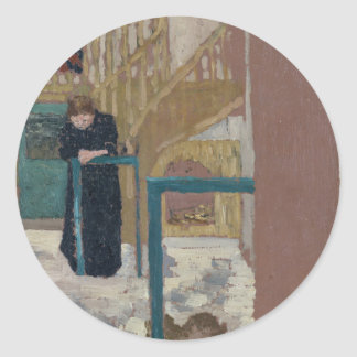 Frau Vuillard im Studio eines Set-Designers Runder Aufkleber