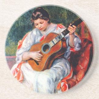 Frau, welche die Gitarre durch Pierre Renoir Sandstein Untersetzer