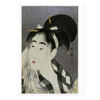 """Frauen-Abwischen Kitagawa Utamoros """"geschwitzt """" Postkarte"""