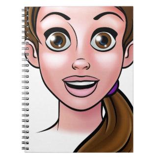 Frauen-Cartoon-Gesicht Spiral Notizblock