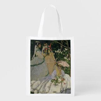 Frauen Claude Monets | im Garten Wiederverwendbare Einkaufstasche