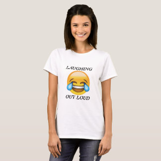Frauen, die heraus lauten Emoji T - Shirt lachen