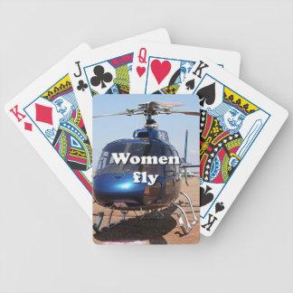 Frauen fliegen: blauer Hubschrauber Bicycle Spielkarten