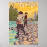 Frauen fliegen Fischen - Montana Posterdrucke