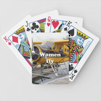 Frauen fliegen: Floss-Flugzeug, See-Haube, Alaska Bicycle Spielkarten