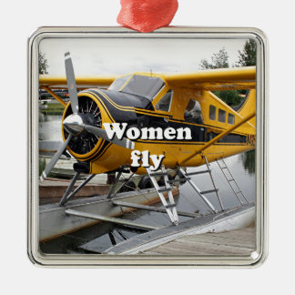 Frauen fliegen: Floss-Flugzeug, See-Haube, Alaska Silbernes Ornament