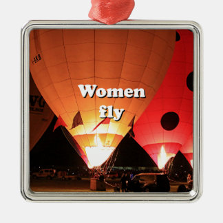 Frauen fliegen: Heißluftballon 2 Silbernes Ornament