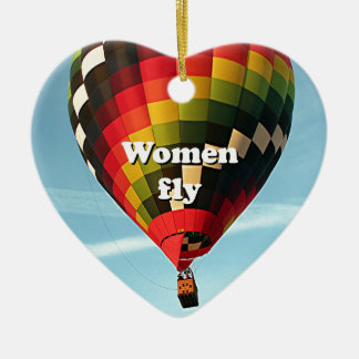 Frauen fliegen: Heißluftballon Keramik Ornament
