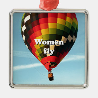 Frauen fliegen: Heißluftballon Silbernes Ornament