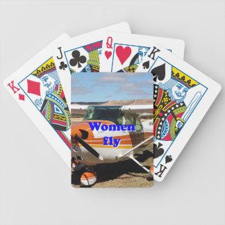 Frauen fliegen: hohe Flügelflugzeuge Bicycle Spielkarten