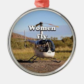 Frauen fliegen: Hubschrauber (weiße) 2 Silbernes Ornament