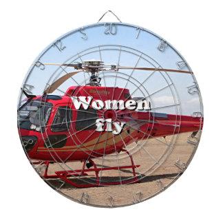 Frauen fliegen: roter Hubschrauber Dartscheibe
