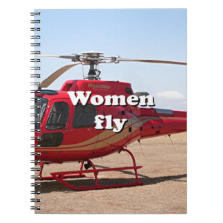 Frauen fliegen: roter Hubschrauber Notizblock