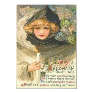 Frauen-Kobold-Kerzen-lächelndes Gedicht 12,7 X 17,8 Cm Einladungskarte