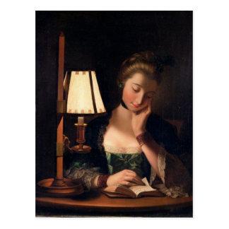 Frauen-Lesung durch einen Papier-Glocke Schatten, Postkarte